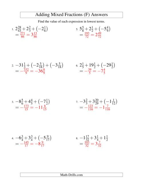 The Adding Mixed Fractions Super Extreme Version (F) Math Worksheet Page 2