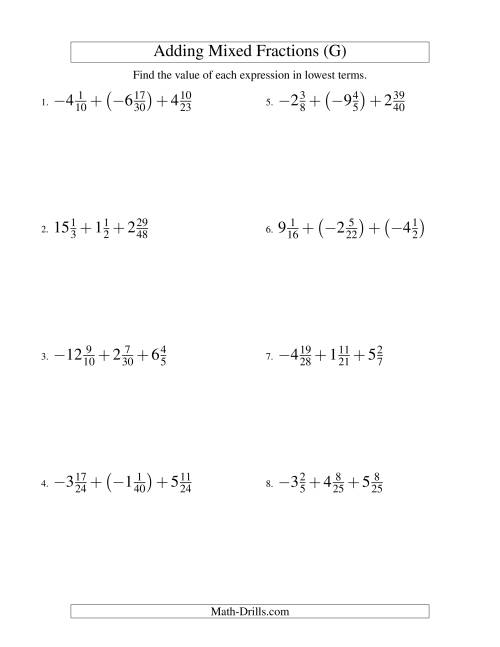 The Adding Mixed Fractions Super Extreme Version (G) Math Worksheet