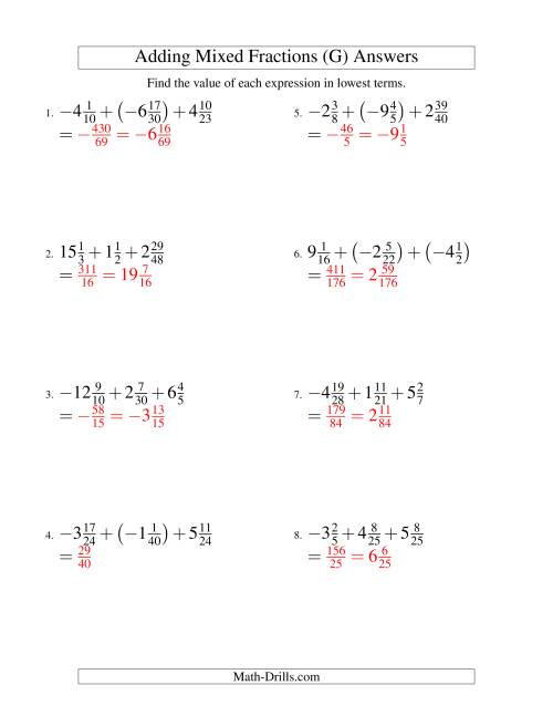 The Adding Mixed Fractions Super Extreme Version (G) Math Worksheet Page 2