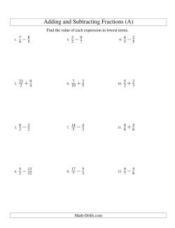 Adding and Subtracting Fractions -- No Mixed Fractions (A)