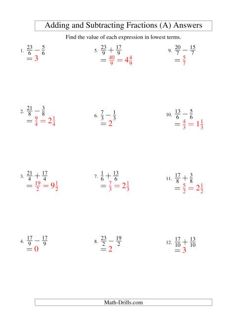 The Adding and Subtracting Fractions -- Like Terms -- No Mixed Fractions (A) Math Worksheet Page 2