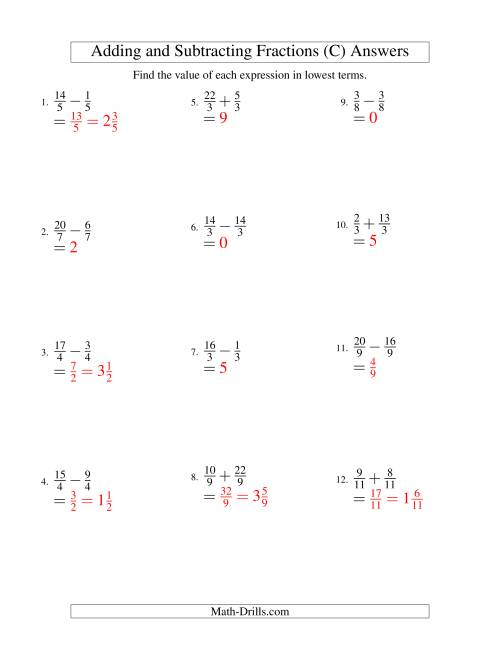 The Adding and Subtracting Fractions -- Like Terms -- No Mixed Fractions (C) Math Worksheet Page 2