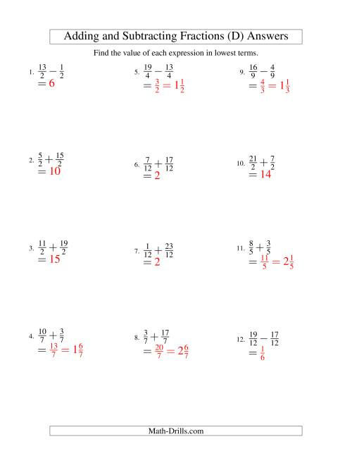 The Adding and Subtracting Fractions -- Like Terms -- No Mixed Fractions (D) Math Worksheet Page 2