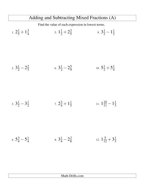 The Adding and Subtracting Mixed Fractions (A) Math Worksheet