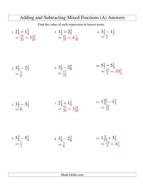 The Adding and Subtracting Mixed Fractions (A) Math Worksheet Page 2