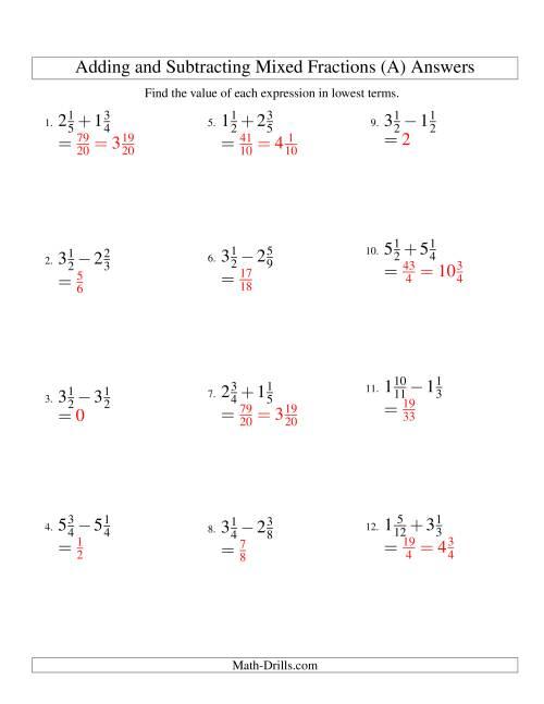 Kids : Free Fraction Worksheets Adding Subtracting Fractions ...