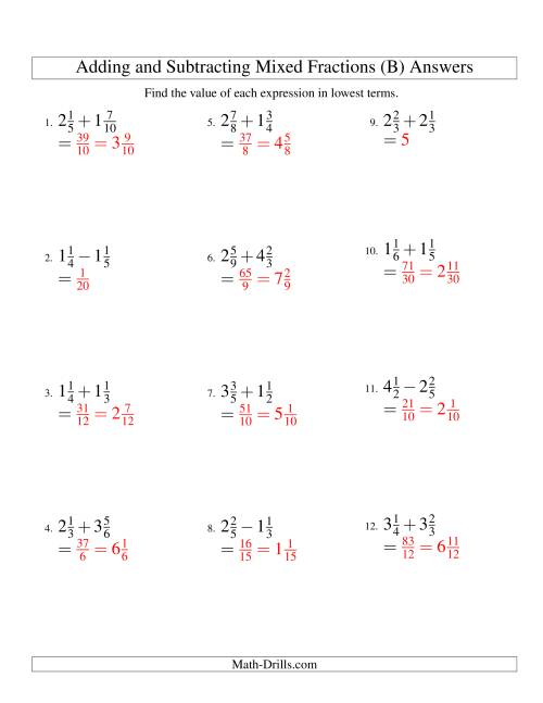 The Adding and Subtracting Mixed Fractions (B) Math Worksheet Page 2