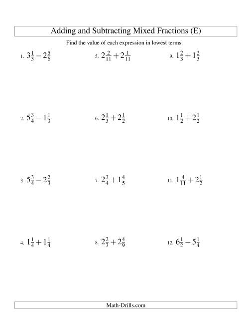 The Adding and Subtracting Mixed Fractions (E) Math Worksheet