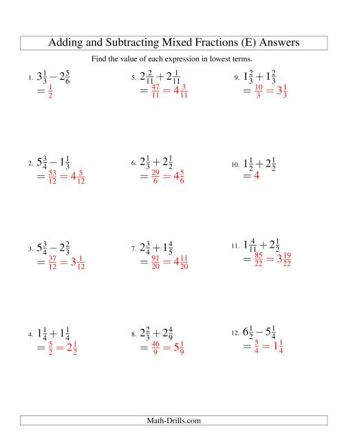 The Adding and Subtracting Mixed Fractions (E) Math Worksheet Page 2