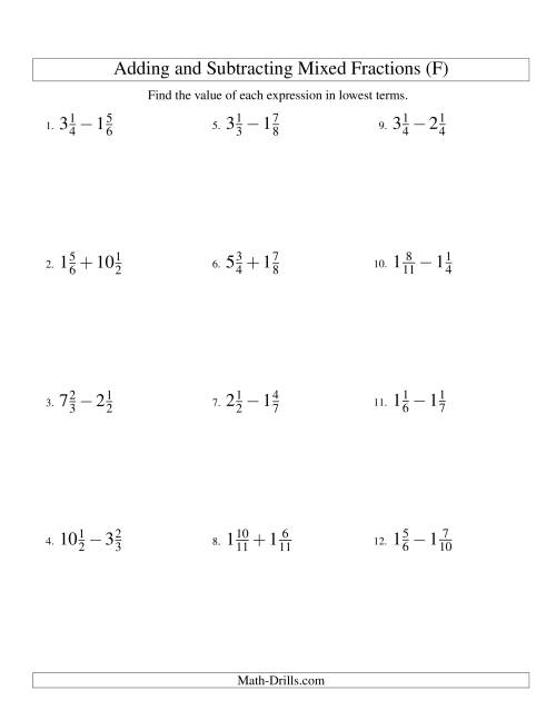 The Adding and Subtracting Mixed Fractions (F) Math Worksheet