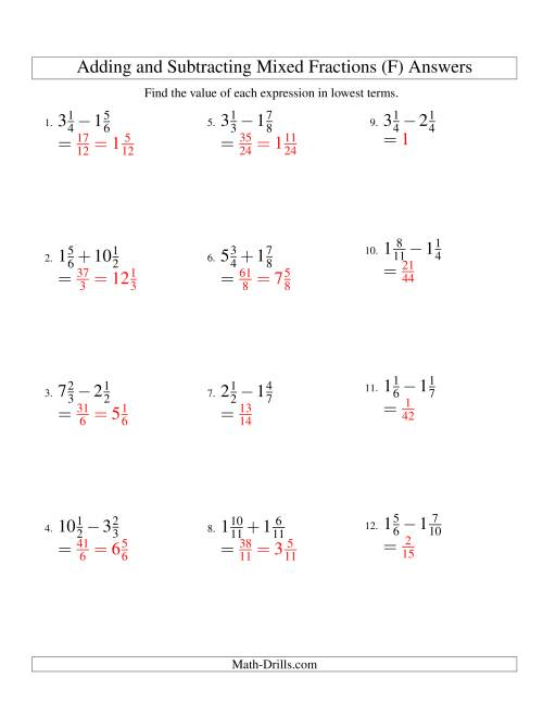 The Adding and Subtracting Mixed Fractions (F) Math Worksheet Page 2