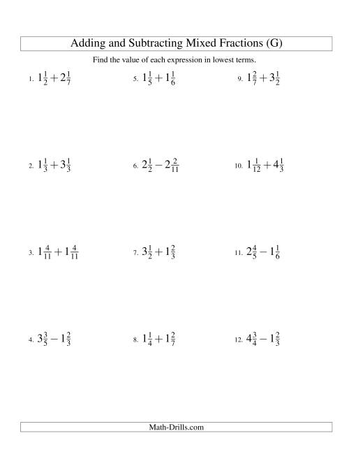 The Adding and Subtracting Mixed Fractions (G) Math Worksheet