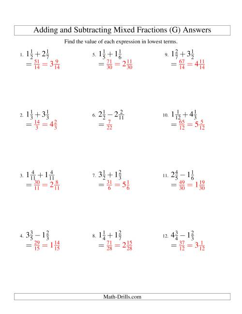 The Adding and Subtracting Mixed Fractions (G) Math Worksheet Page 2