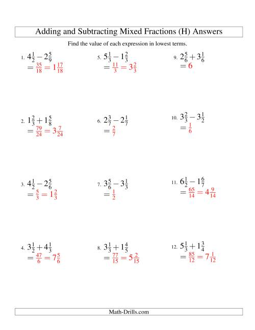The Adding and Subtracting Mixed Fractions (H) Math Worksheet Page 2
