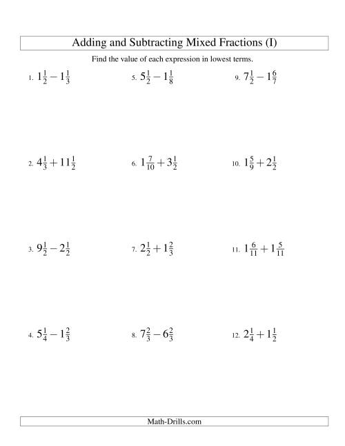 The Adding and Subtracting Mixed Fractions (I) Math Worksheet