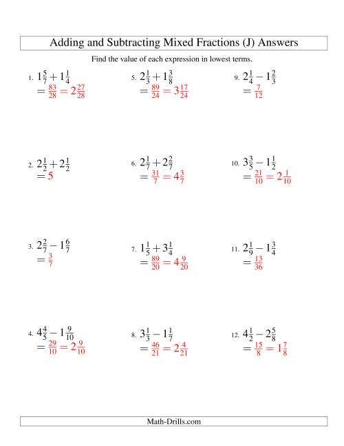 The Adding and Subtracting Mixed Fractions (J) Math Worksheet Page 2