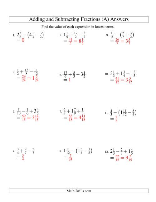 Adding And Subtracting Fractions With Three Terms A Worksheet adding dissimilar fractions