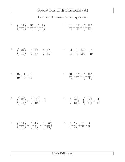The Mixed Operations with Three Fractions Including Negatives and Improper Fractions (A) Math Worksheet