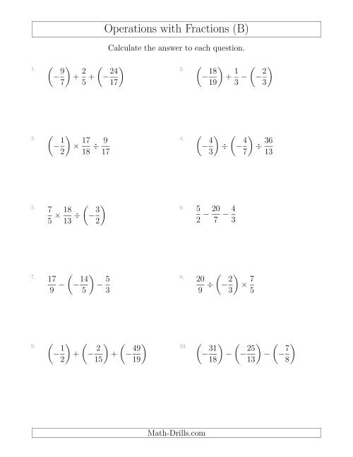 The Mixed Operations with Three Fractions Including Negatives and Improper Fractions (B) Math Worksheet
