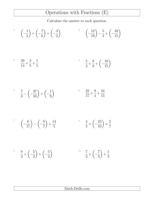 The Mixed Operations with Three Fractions Including Negatives and Improper Fractions (E) Math Worksheet