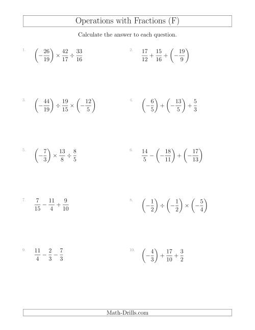 The Mixed Operations with Three Fractions Including Negatives and Improper Fractions (F) Math Worksheet
