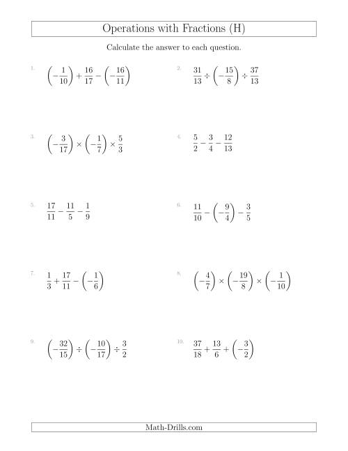 The Mixed Operations with Three Fractions Including Negatives and Improper Fractions (H) Math Worksheet