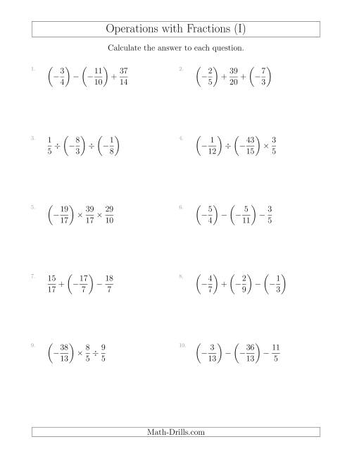 The Mixed Operations with Three Fractions Including Negatives and Improper Fractions (I) Math Worksheet