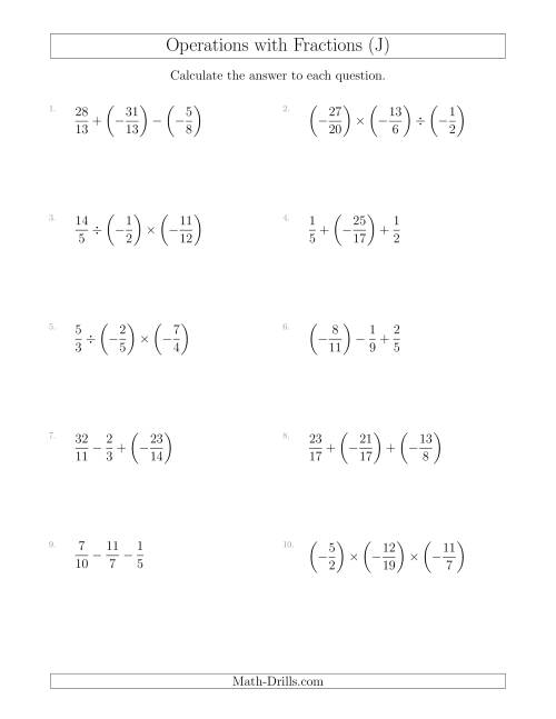 The Mixed Operations with Three Fractions Including Negatives and Improper Fractions (J) Math Worksheet