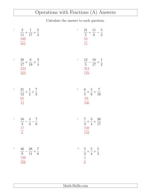 Worksheets Order Of Operations With Fractions Worksheet mixed operations with three fractions including improper a the math worksheet page 2