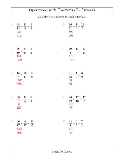 Mixed Operations with Three Fractions Including Improper
