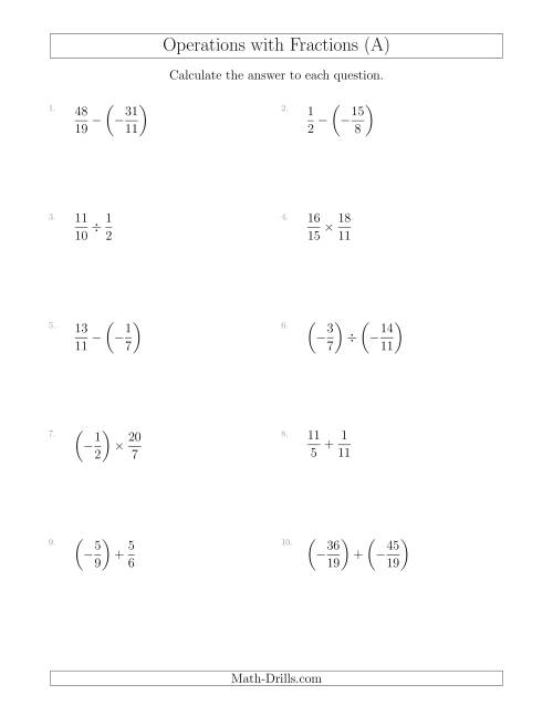 The Mixed Operations with Two Fractions Including Negatives and Improper Fractions (A) Math Worksheet
