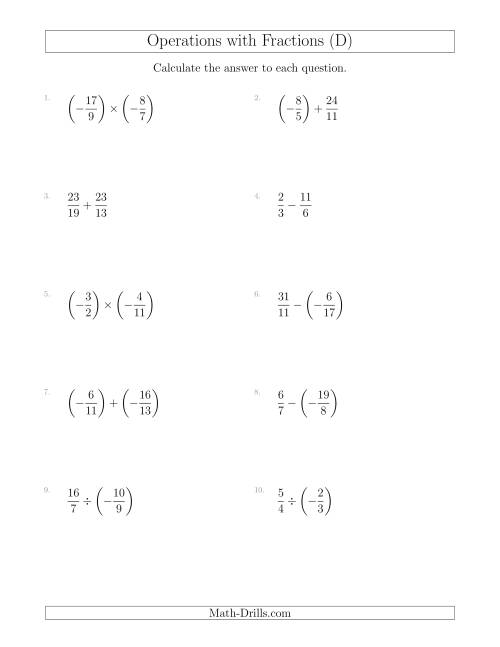 Mixed Operations with Two Fractions Including Negatives