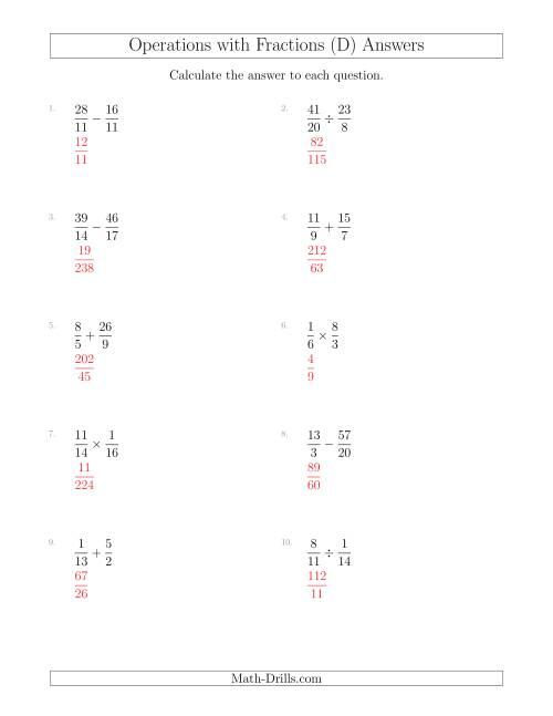 The Mixed Operations with Two Fractions Including Improper Fractions (D) Math Worksheet Page 2