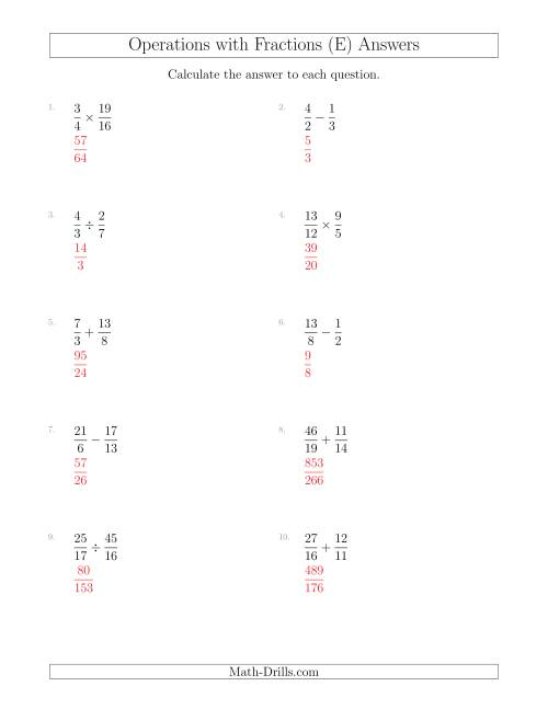 The Mixed Operations with Two Fractions Including Improper Fractions (E) Math Worksheet Page 2