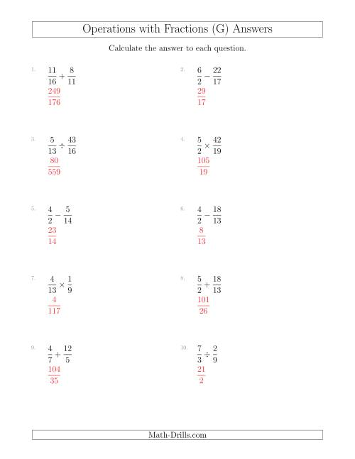 The Mixed Operations with Two Fractions Including Improper Fractions (G) Math Worksheet Page 2