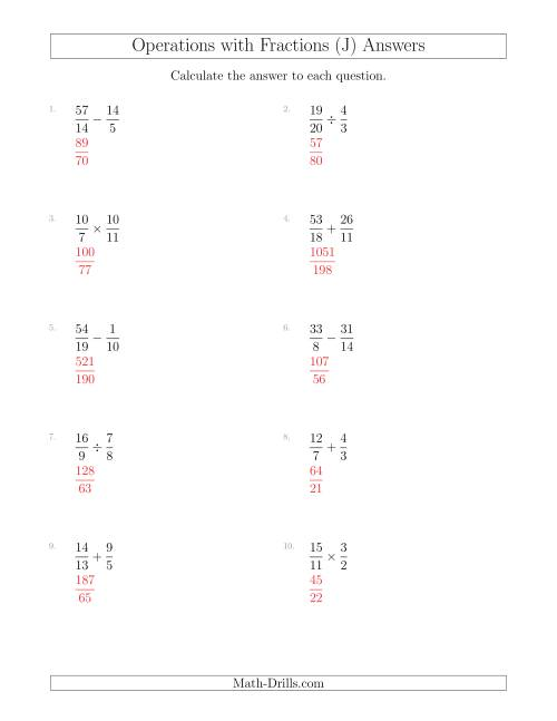 The Mixed Operations with Two Fractions Including Improper Fractions (J) Math Worksheet Page 2
