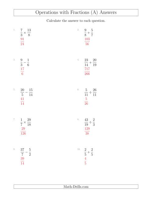 The Mixed Operations with Two Fractions Including Improper Fractions (All) Math Worksheet Page 2