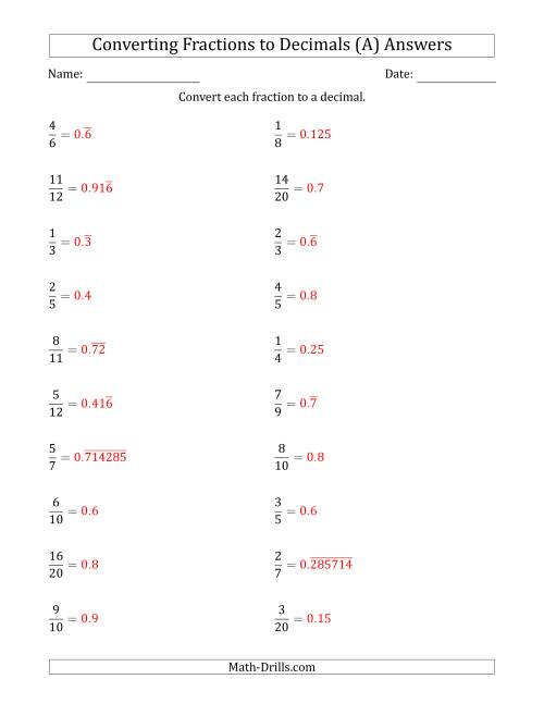 ... The Converting Fractions to Terminating and Repeating Decimals (A) Math Worksheet Page 2