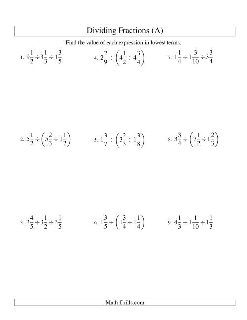 The Dividing and Simplifying Mixed Fractions with Three Terms (A) Math Worksheet