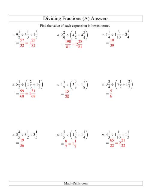 The Dividing and Simplifying Mixed Fractions with Three Terms (A) Math Worksheet Page 2