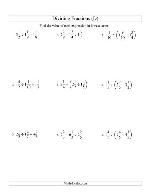 The Dividing and Simplifying Mixed Fractions with Three Terms (D) Math Worksheet