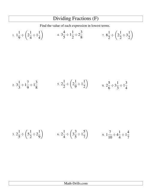 The Dividing and Simplifying Mixed Fractions with Three Terms (F) Math Worksheet