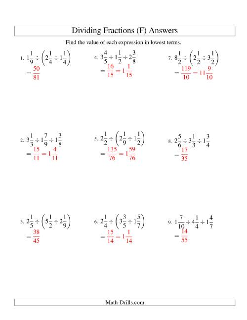 The Dividing and Simplifying Mixed Fractions with Three Terms (F) Math Worksheet Page 2