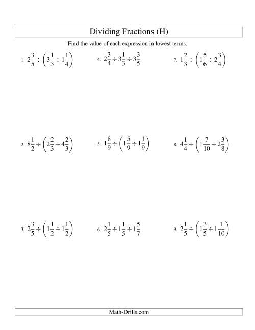 The Dividing and Simplifying Mixed Fractions with Three Terms (H) Math Worksheet