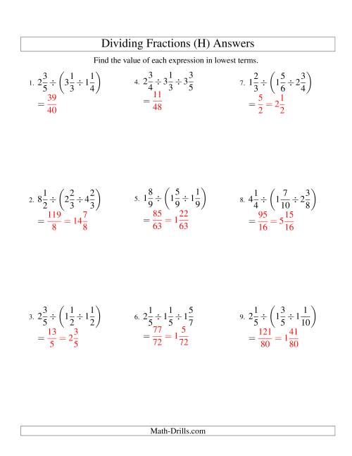 Dividing And Simplifying Mixed Fractions With Three Terms H