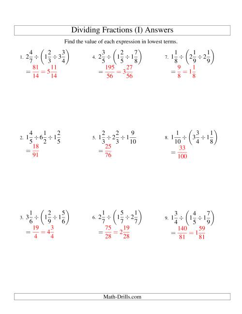 The Dividing and Simplifying Mixed Fractions with Three Terms (I) Math Worksheet Page 2