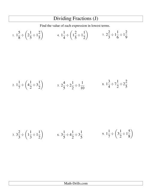 Dividing And Simplifying Mixed Fractions With Three Terms J