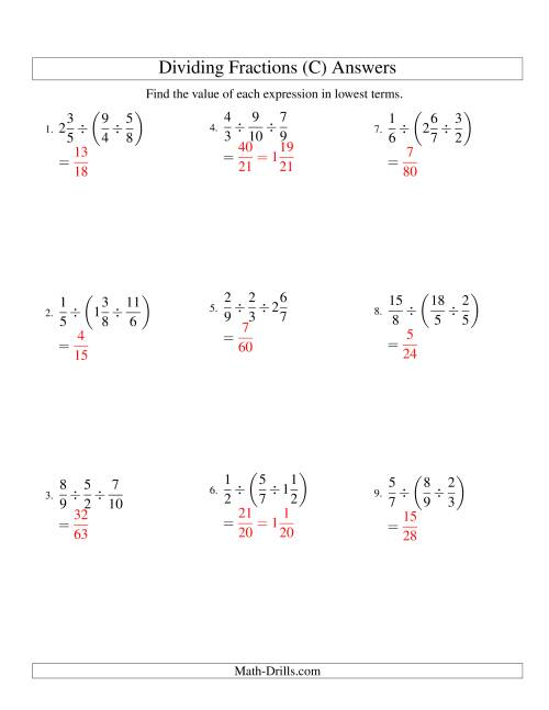 The Dividing and Simplifying Fractions with Some Mixed Fractions and Three Terms (C) Math Worksheet Page 2