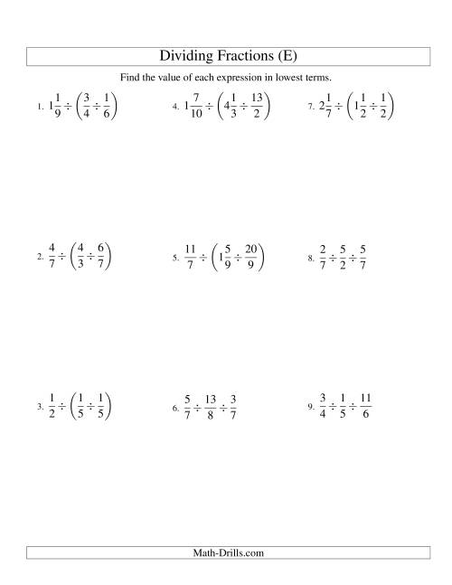 The Dividing and Simplifying Fractions with Some Mixed Fractions and Three Terms (E) Math Worksheet
