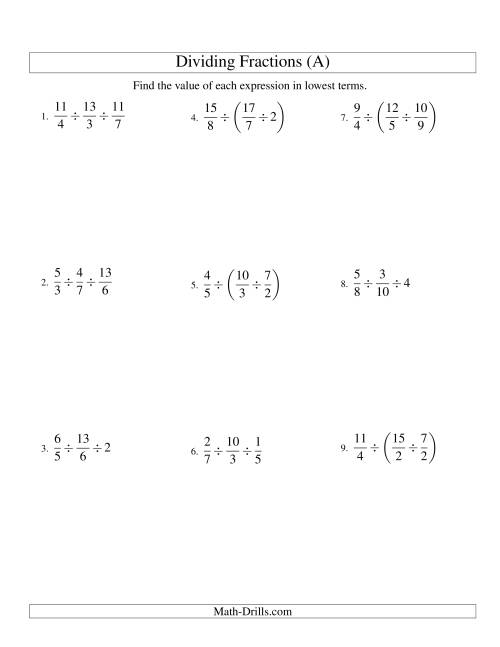 The Dividing and Simplifying Fractions with Some Whole Numbers and Three Terms (A) Math Worksheet